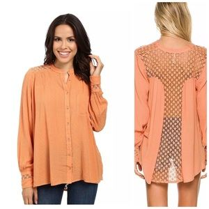 Free People Peach The Best Button Down Crochet Top